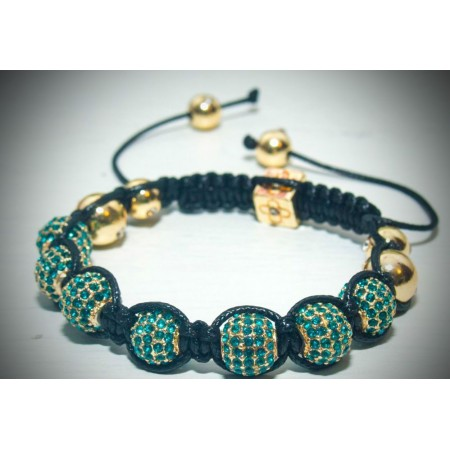 blue and gold crystal shamballa bracelet