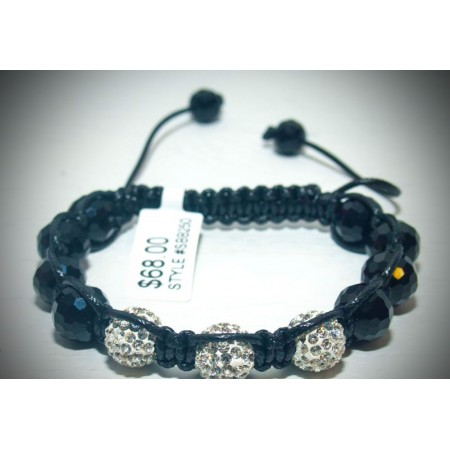 Black with silver crystal shamballa bracelet