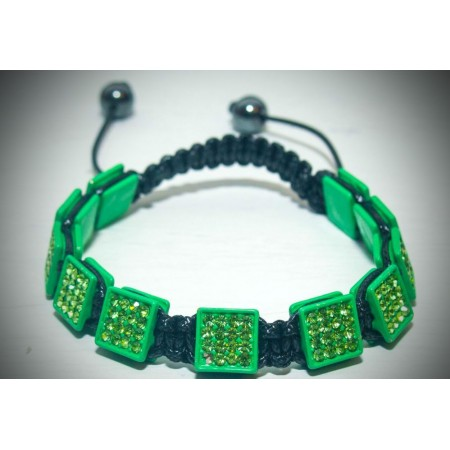 Green crystal square shamballa bracelet