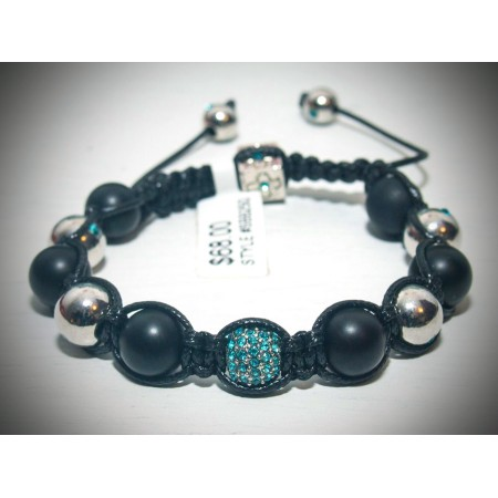 Blue and silver smooth crystal shamballa bracelet