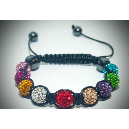 Multi colour crystal shamballa bracelet