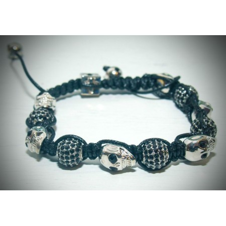 black and silver crystal skull shamballa bracelet