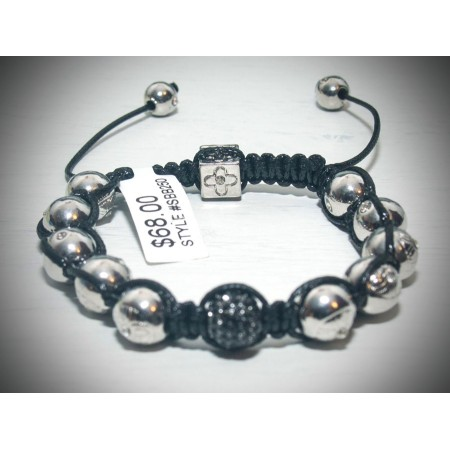 Silver with black crystal shamballa bracelet