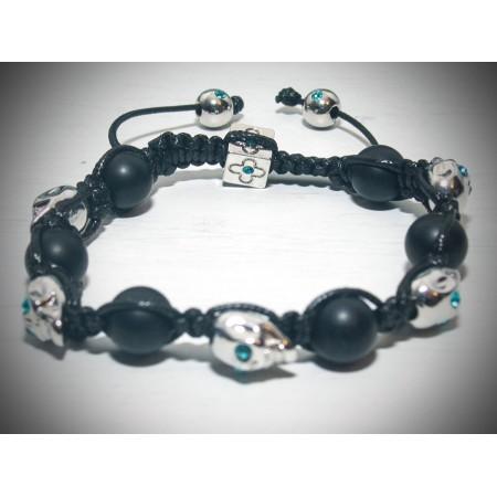 Silver skull blue eyes bracelet