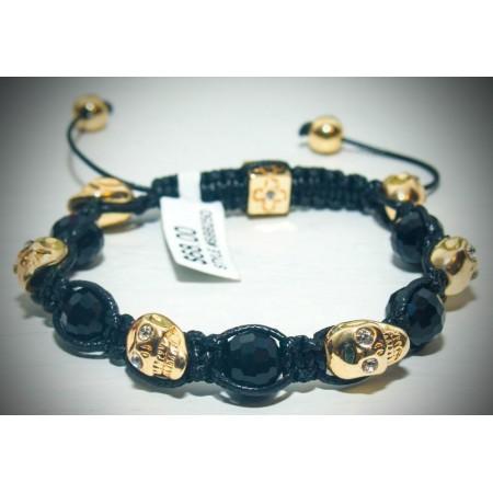 Gold skull crystal bracelet