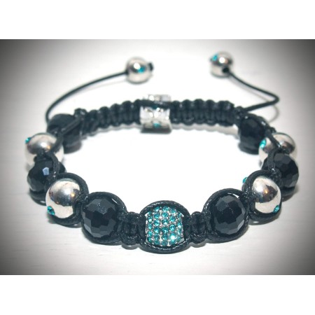 black and blue crystal shamballa bracelet