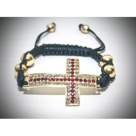 Large gold cross with red crystals shamballa bracelet