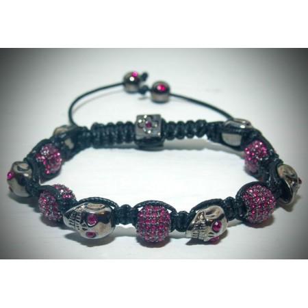 Pink skull crystal bracelet