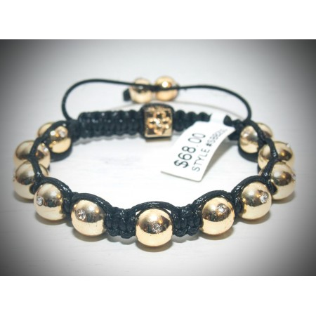 Gold with clear crystal shamballa bracelet