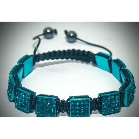 Azure blue crystal shamballa bracelet