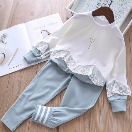 Girls jogging suit with lace trim