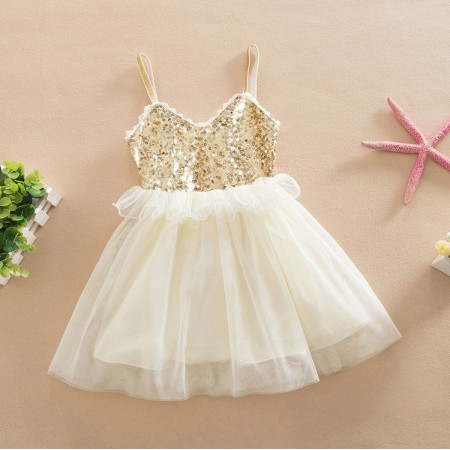Shelby cream & gold sequin dress