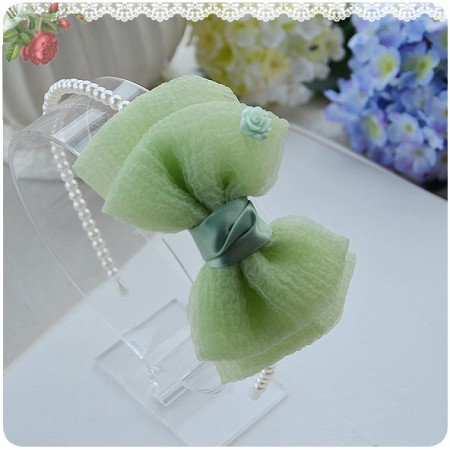 Green pearl & bow headband