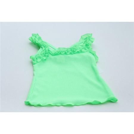 Frilly vest top in leaf green