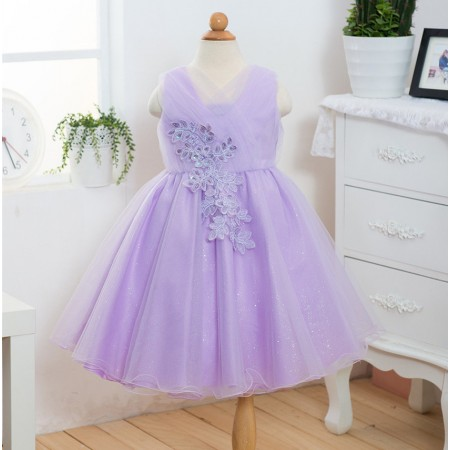 Helena embroidered sparkle dress lilac