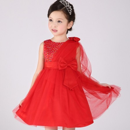 Clarissa  beaded sash party dress red