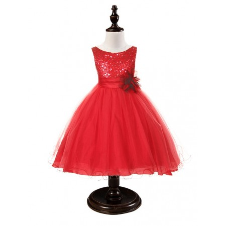 Naomi sequin dress in Christmas red