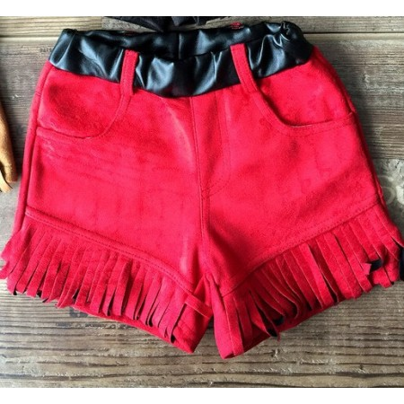 Red faux suede fringed tassel shorts