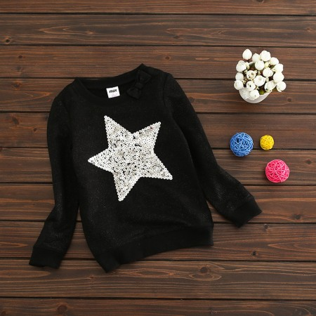 Sequin star jumper black and silver