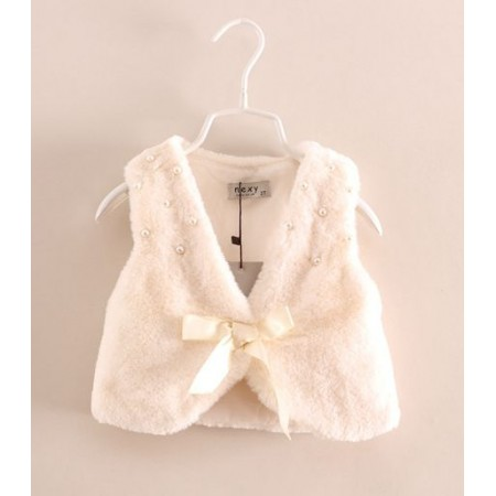 Cream faux fur gillet with pearl detail